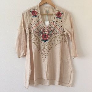 Kyla Seo V-Neck Boho Floral Embroidered Blouse S